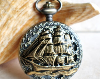 Ship pocket watch, men's pocket watch, nautical theme,  front case is mounted with sailing ship
