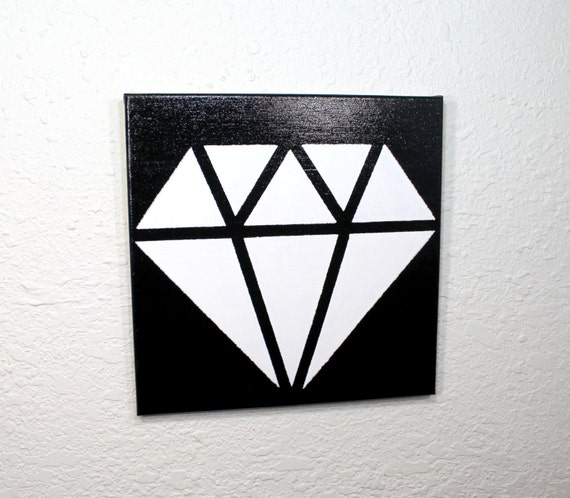 White diamond acrylic painting on black background diamond for Acrylic painting on black background