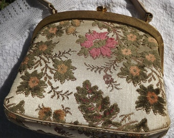 Vintage Floral Brocade Curtain-like Tapestry Handbag Purse