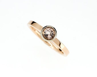 Morganite engagement ring, solitaire, rose gold ring, white gold, two tone engagement, peach morganite, unique, vintage, morganite wedding