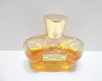 Vintage Stradivari Cologne Parfumee by Prince Matchabelli (14) 1 fl. oz. Glass Crown Bottle Is More Than Half Full