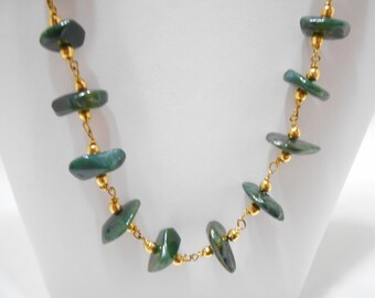"Vintage 18"" Chrysocolla Nugget Necklace (809)"