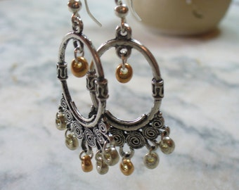 Antique Silver Oval, Chandelier Earrings, Two Tone Earrings, Drop Earrings, Long Dangle Earrings, Womens Jewelry, Silver and Gold