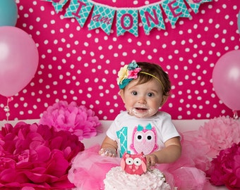 OWL BIRTHDAY BANNER / 1st birthday girl / Birthday banner / Cake smash banner / Owl birthday banner / Owl birthday party / Smash cake banner