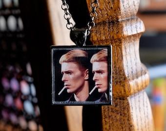 Golden Years - David Bowie necklace handmade resin photo pendant square gunmetal silver 70s Thin White Duke