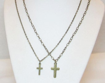 Gold Cross Necklace - Men's Cross Necklace - Women's Cross Necklace - Unisex Jewelry