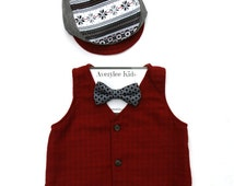 Boys Christmas Red Flannel Vest, Red Tonal Check Vest for Boys, Holiday Fashion for Children, Christmas Outfit, Baby's first Christmas