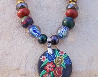 Black Flowered Pendant Necklace
