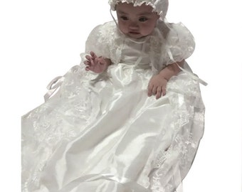 Lace Long Baptism Gown Ivory White Long Christening Gown Baby Dresses Dedication dress Baptism Dress Blessing