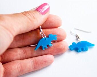 Triceratops Dinosaur Dangle Earrings. Drop Dinosaur Earrings. Dinosaur Jewellery. Laser Cut Acrylic Dinosaur Studs. Perspex. Laser engraved.