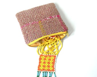 small kantha gift purse, surprise purse, kantha pouch, gift for her, purse with necklace