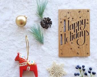 Christmas Card, Happy Holidays Card, Real Wood