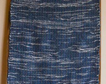 """Hand Woven Rag Rug - Denim Rug Blue Hem 23"""" x 56"""""""