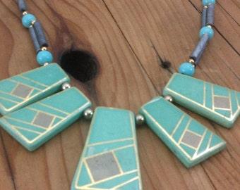 Vintage geomeric mint bib bead necklace boho ethnic tribal hippie