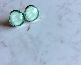 Mint Arrow Print Post Earrings