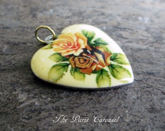enamel heart charm pendant roses flower floral yellow peach green silver toned vintage style romantic shabby jewelry