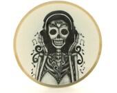 Sugar Skull Altered Vintage Porcelain Plate Girl Headphones Day of the Dead Mexico Halloween Calavera Dios de los Muertos Wall Decoration