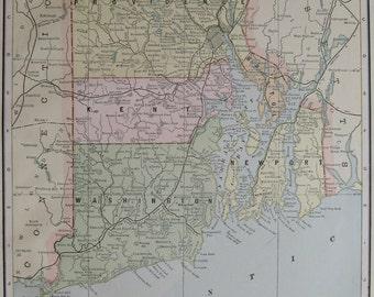 Antique RHODE ISLAND MAP 1893 Vintage State Map of Rhode Island Travel Gallery Wall Art Plaindealing 6669