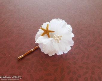 Flower & Seashell Bobby Pin Accessory - White Flower Design - Bobby Pin Base - Tiny Starfish Accessory - Starfish Hair Piece