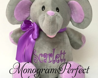 "Personalized 16"" Plush Elephant Stuffed Animal with purple ears"