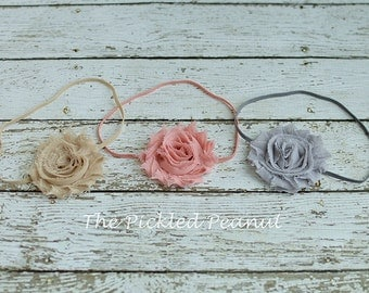 1 ~ Vintage Baby Headband Baby Girl Head band Hairbow Hair Bow Shabby Baby Headband Newborn Headband Toddler Headband Baby Bow Flower Bow