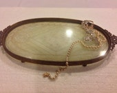 Elegant E. & J. B. Brass Ornate Dresser Tray with Lace Doily underneath glass