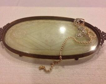 Elegant E. & J. B. Brass Ornate Dresser Tray with Lace Doily underneath glass