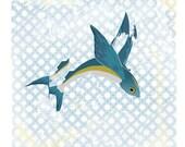 Fish Art Print Nautical Beach Wall Art Digital Turquoise Blue Decor Vintage Pattern / Beautiful Flying Fish