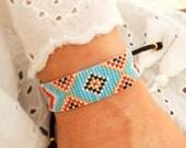 Turquoise Bohemian Bracelet - Boho Chic Bracelet - Ethnic Bracelet - Statement Bracelet - Evil Eye Bracelet - Red Black Beaded Bracelet