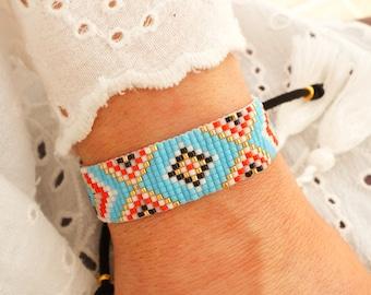 Turquoise Bohemian Bracelet - Boho Chic Bracelet - Ethnic Bracelet - Statement Bracelet - Evil Eye Bracelet - Bead Loom Bracelet - Aztec