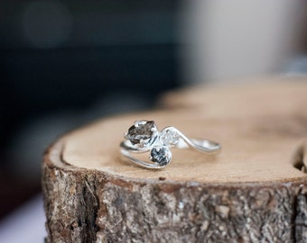 Meteorite And Rough Uncut Natural Diamond Ring with Sterling Silver and Campo del Cielo - Swirls and Leaves Elvish Engagement Ring