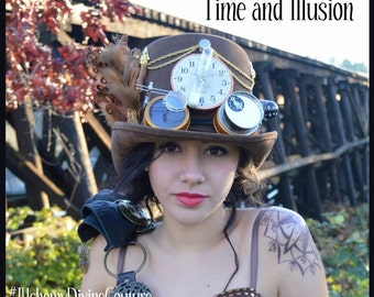 Steampunk Top Hat, Brown Top Hat, Clock, Goggles, Compass, Feathers by Alchemy Divine Couture
