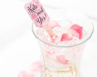 Bridal Shower Drink Stirrers, Cocktail Stirrers, Swizzle Sticks, Pink Stir Sticks, Drink Stirrers