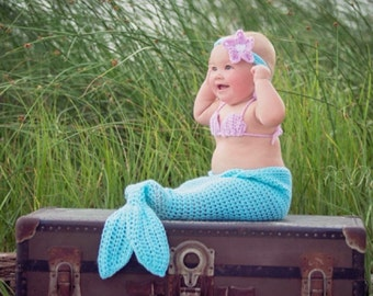 HANDMADE CROCHETED MERMAID outfit, photo prop baby blue and purple mermaid tail, baby mermaid costume,