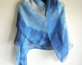 Indigo Ombre dyed Linen scarf in a Unique style