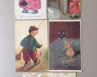 Antique Postcards, Chloe preston, Vera Petersen, F E Morgan, Misch Dutch Boy, M Greiner