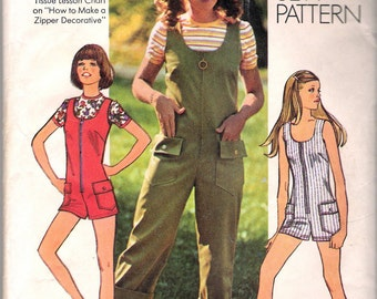Vintage 1972 Simplicity 9938 Jumpsuit in Two Lengths & Top Sewing Pattern Size 14 Bust 36""