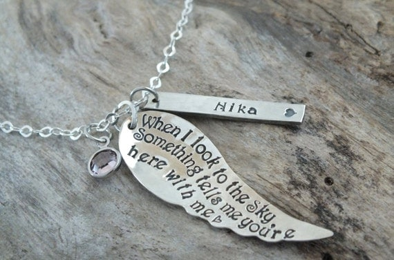 Sterling Silver Angel Wing Necklace, Personalized Loved one loss Necklace - Memorial Necklace - Angel wing Necklace