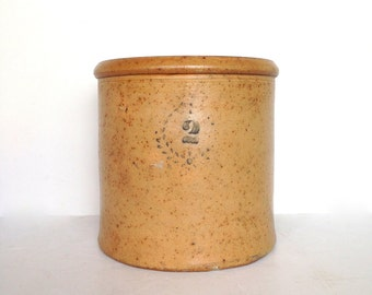 RESERVED - Antique Crock, 2 Gallon Crock with Cobalt Decoration, Honey Color with Wreath Design