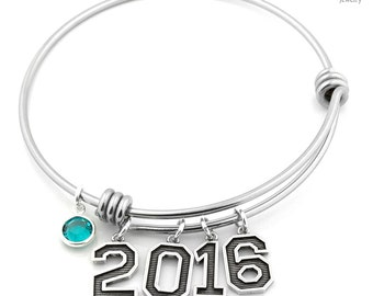 Personalized Expandable bangle bracelet Sterling Silver Number charm and Swarovski Birthstone crystal - Birthday Gift Graduation Gift S16