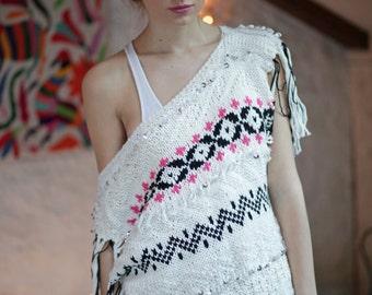 Bohemian hand knit poncho,Hippie Boho Chic Sweater,Tassels poncho,Spring sweater,Boho hippie pullover,Cozy sweater