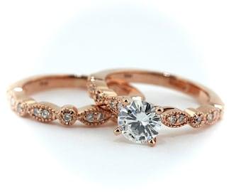 Rose Gold Engagement Ring and Wedding Band Matching Bridal Set Moissanite Center Sweet Bliss