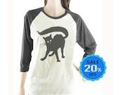 Black Cat tshirt women t shirt baseball tshirt raglan tshirt unisex tshirt size S M L