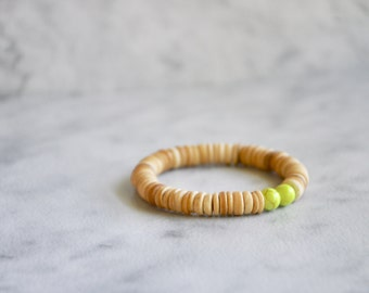 Natural Wood Bead Bracelet, Coconut Shell Bead + Lemon Yellow Dyed Howlite, Lucky Mala, Yoga Jewelry