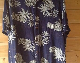 Vintage Ho Aloha Hawaiian Shirt, Pineapple and Island Print, Size Large