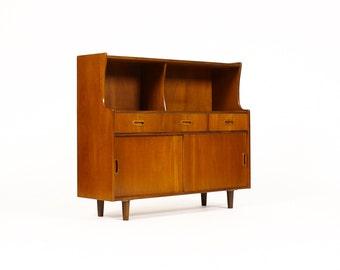 Danish Modern / Mid Century Teak Low Hutch / Bar Cabinet - Sliding doors