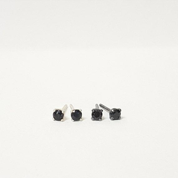 Sterling Silver Faceted Black Spinel Gemstone Stud Earrings - Minimal - Sterling Silver