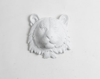 White Faux Taxidermy - The Laurel - White Mini Resin Tiger Head- Resin White Faux Taxidermy- Chic & Trendy