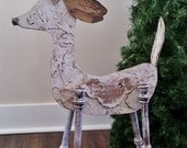 Reindeer Christmas Decor, Recycled, Repurposed One of a Kind. Vintage Look Deer Distressed White Finish
