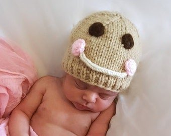 Knit Christmas Hat, Baby Gingerbread Hat, Knit Baby Christmas Hat, Christmas Baby Hat, Winter Baby Hat, Knit Newborn Hat, Holiday Baby Hat